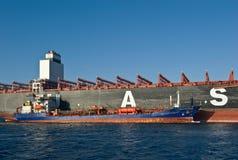 Nakhodka Ryssland - Februari 01, 2018: Skepp för behållare för tankfartygZaliv Petra Velikogo bunker av anseendet för företag UAS Royaltyfri Foto