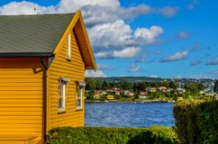 Nakholmen the cottage island 15 minutes from Oslo downtown. View from Nakholmen the cottage island 15 minutes from Oslo downtownnCottages with awesome colors Royalty Free Stock Photography