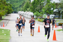 Nakhon nayok,Thailand - 25 June 2017: Triathletes running in Ch. Allenge Nakhon Nayok 2017 royalty free stock images