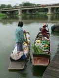 Nakhon Pathom, Tajlandia Sierpień 3,2014: Spławowy rynek Zdjęcie Stock