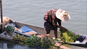 An old lady stay on her boat and sell some local vegetable and a bunch of banana, near a pier in Thailand. NAKHON PATHOM, THAILAND. – On April 24, 2018 stock video