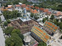 Aerial view of Ancient stupa and thai buddhist temple stock image