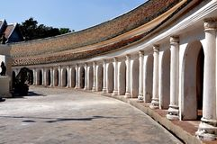 Nakhon, Pathom, Thailand: Cloister Gallery at Thai Temple Stock Images