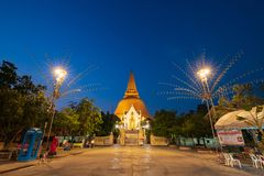 Nakhon Pathom, Thailand - Feb 23, 2019: Phra Pathom Chedi is a stupa in Thailand. The stupa Pagan is first, oldest, tallest and stock photos