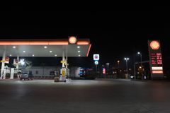 NAKHON PATHOM, THAILAND - FEB, 2018: the Shell fuel petrol station in the night scene royalty free stock photo