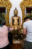 Nakhon Pathom, Thailand - January 2,2018: Wat Raikhing Temple . Many people make a merit . royalty free stock images