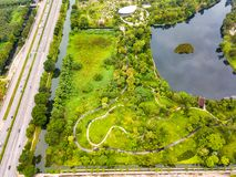 Aerial view of Sireeruckhachati Nature Learning Park Royalty Free Stock Image