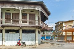 Conserved old mixed concrete and wooden shophouse in downtown Nakhon Phanom, Thailand Royalty Free Stock Photo