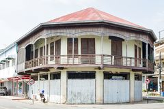 Conserved old mixed concrete and wooden shophouse in downtown Nakhon Phanom, Thailand Royalty Free Stock Images