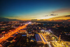 Nakhon Ratchasima city at sunset, Thailand Stock Photography