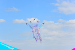 NAKHON RATCHASIMA 27 NOVEMBER :The display of aerobatics shared. The aerobatics show celebrating the 40th anniversary relationship Thailand - China's Gripen and Stock Photo