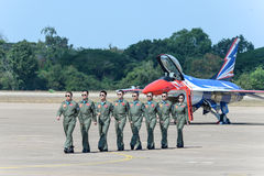NAKHON RATCHASIMA 27 NOVEMBER :The display of aerobatics shared. The aerobatics show celebrating the 40th anniversary relationship Thailand - China's Gripen and Stock Photography