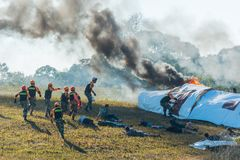 Rescue drill on simulation of passenger airplane crashed in Khao Royalty Free Stock Photos