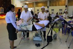 Free Nakhon Sawan, Thailand, April 29, 2019. Asian People, Doctors And Nurses Are Donating Blood In Health Care Hospitals. Royalty Free Stock Image - 146152416
