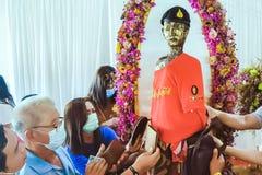 Nakhon Si Thammarat ,THAILAND-AUGUST 29,2020 : The sacred wooden sculpture of Ai Khai at Wat Chedi in Nakhon Si Thammarat,