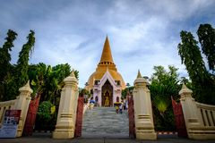 NAKHONPATHOM, THAILAND, 26 Sep 2017 , Wat Phra Pathom Chedi Sanc. Tuary is a vital part Temple of Thailand view point from train station Royalty Free Stock Images