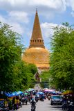 NAKHONPATHOM, THAILAND, 26 Sep 2017 , Wat Phra Pathom Chedi Sanc. Tuary is a vital part Temple of Thailand view point from train station Royalty Free Stock Photography