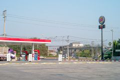 Nakhonpratom, Thailand : January 27, 2019 - Landscape oil station with steel pole of drive through service stock image