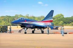 Nakhonratchasima,泰国2015年11月27日:F-16 Gripen和澳大利亚 免版税库存图片