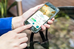 Nakhonratchasima ΤΑΪΛΑΝΔΗ στις 6 Σεπτεμβρίου 2016: Το Pokemon πηγαίνει app, ένα φ στοκ εικόνες