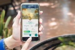 Nakhonratchasima TAJLANDIA Wrzesień 6 2016: Pokemon Iść app, f Obraz Stock