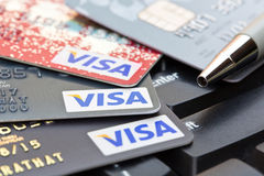 Nakhonratchasima, THAÏLANDE - 1er août 2015 : VISA b de carte de crédit Image stock