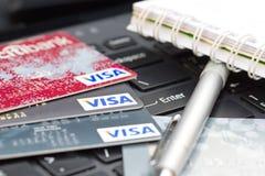 Nakhonratchasima, THAILAND - August 1, 2015 : Credit card VISA b. Rand with pen on keyboard royalty free stock image