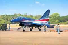 Nakhonratchasima, THAILAND November 27, 2015 : F16 Gripen and Au. Gust 1st Aerobatic team engaged in acrobatics royalty free stock image
