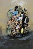 NAKHONSAWAN - 15 OTTOBRE: La gente che vive nell'area, ha un'alta inondazione Fotografia Stock Libera da Diritti