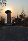 Nakhonsawan, por do sol Fotos de Stock Royalty Free
