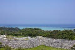 Nakijin Gusuku废墟在冲绳岛,日本 库存图片
