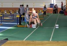 Nakisko Oleksandra competes in the triple jump Stock Image