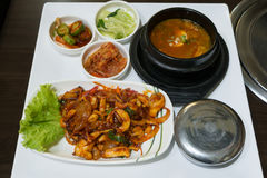 Nakji deopbap is Stir-fried Octopus nakji with Ricebap Stock Photography