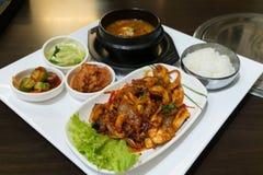 Nakji deopbap is Stir-fried Octopus nakji with Ricebap Stock Photos