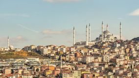 Camlica mosque and modern buildings in istanbul royalty free stock photos