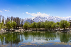 Nako Lake in Spiti Valley India. Nice peaceful lake with snow capped mountains background. Nako Lake locate in Spiti Valley, state of Himachal Pradesh, India Stock Images