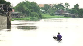 NAKORNPATHOM, THAILAND - APR 2, 2015 : Fisherman age around 30-40s on boat. Are sailing on thai river stock video footage