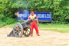 NAKORNPATHOM THAILAND, June 20:   Thai warriors performing a sho Royalty Free Stock Image