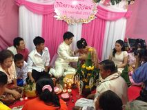 NAKORNRACHASEEMA, THAILAND-FEBRUARY 15日2014年:婚姻 免版税库存图片