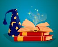 Nakrętka czarownik i książka magiczni czary ilustracja wektor