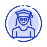Nakrętka, edukacja, skalowanie, kobiety linii linii błękit Kropkująca ikona ilustracji