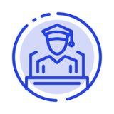 Nakrętka, edukacja, skalowanie, mowy linii linii błękit Kropkująca ikona royalty ilustracja