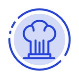 Nakrętka, szef kuchni, kuchenka, kapelusz, Restauracyjny błękit Kropkująca linii linii ikona royalty ilustracja