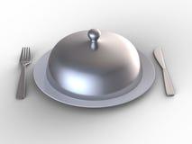 nakrętka zakrywający talerza srebro ilustracji