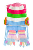 nakrętki dziecka rękawiczek s szalik Obraz Stock