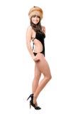 nakrętki futerkowej damy seksowny swimsuit target497_0_ zdjęcia stock