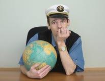 nakrętki kapitanu kuli ziemskiej mężczyzna morza potomstwa Fotografia Royalty Free