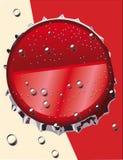 Nakrętki kola używać na szklanych butelkach Strzelający bezpośrednio above, odizolowywający na żółtym czerwonym tle ilustracja wektor