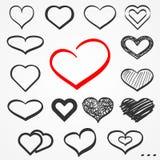 Nakreśleń serca ustawiający Fotografia Stock