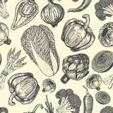 Nakreśleń stylowi świezi warzywa Bezszwowy wzór z setem ręka rysujący elementy Zdjęcia Stock